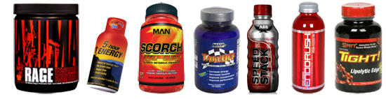 Animal RAGE, 5-hour Energy, MAN Scorch, MHP Takeoff, ABB Speed Stack, BSN Endorush, SAN Tight.