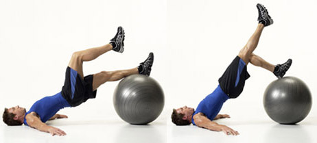 Swiss ball glute exercise